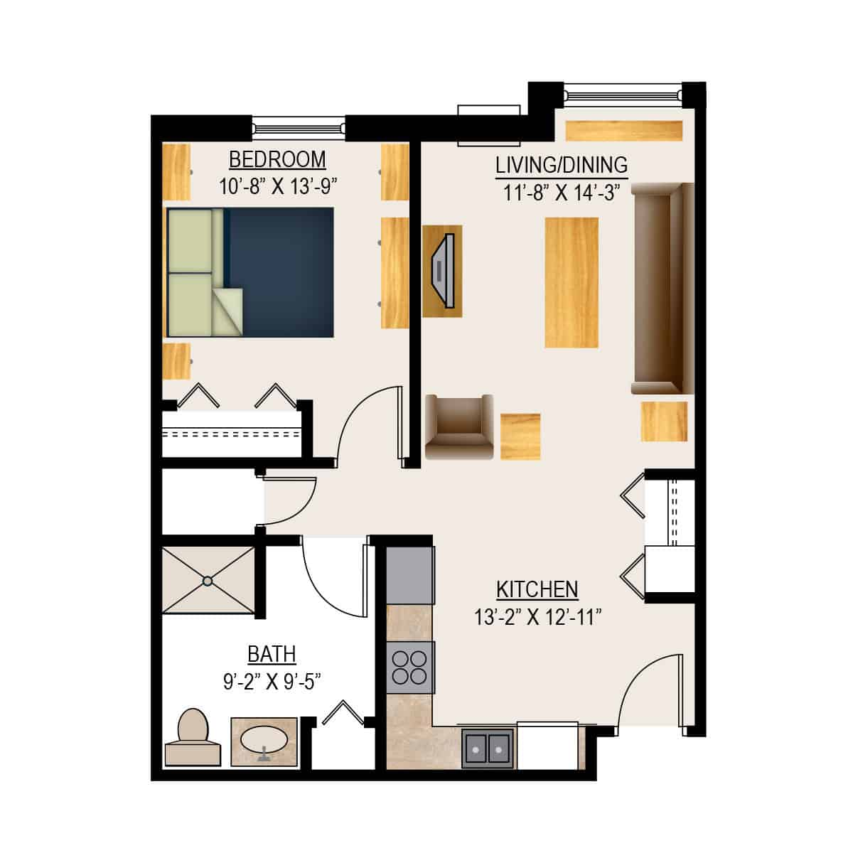 Appleton Retirement One Bedroom Floor Plan