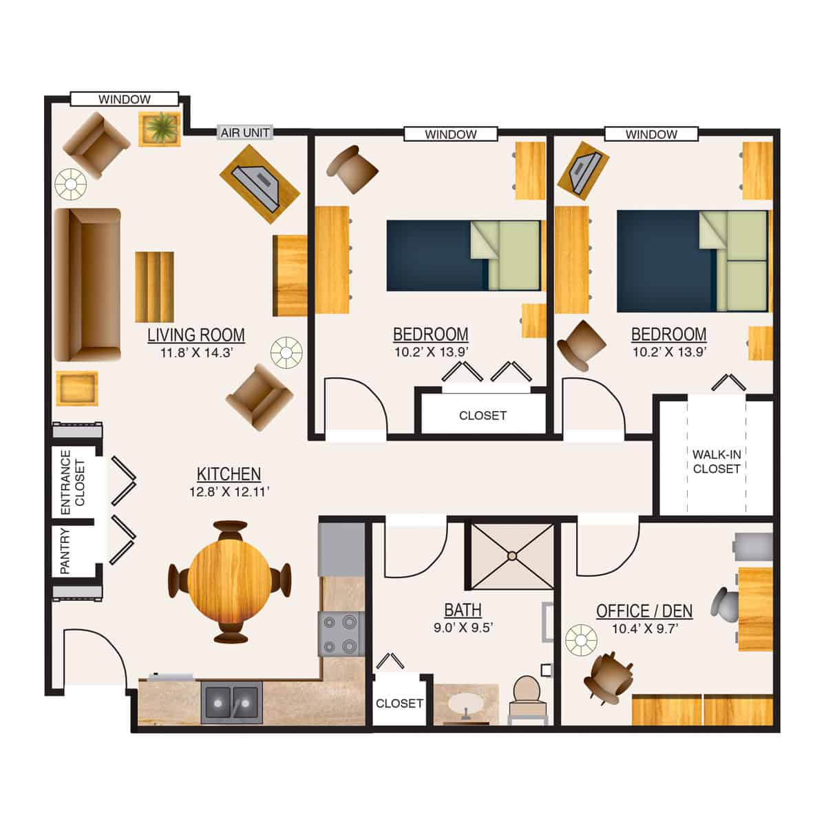 Appleton Retirement Two Bedroom + Den Floor Plan