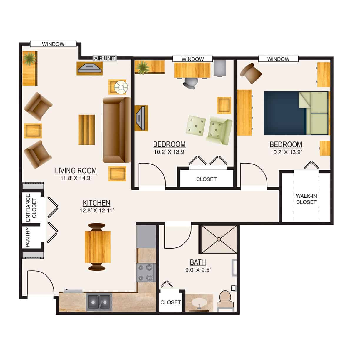 Appleton Retirement Two Bedroom Floor Plan