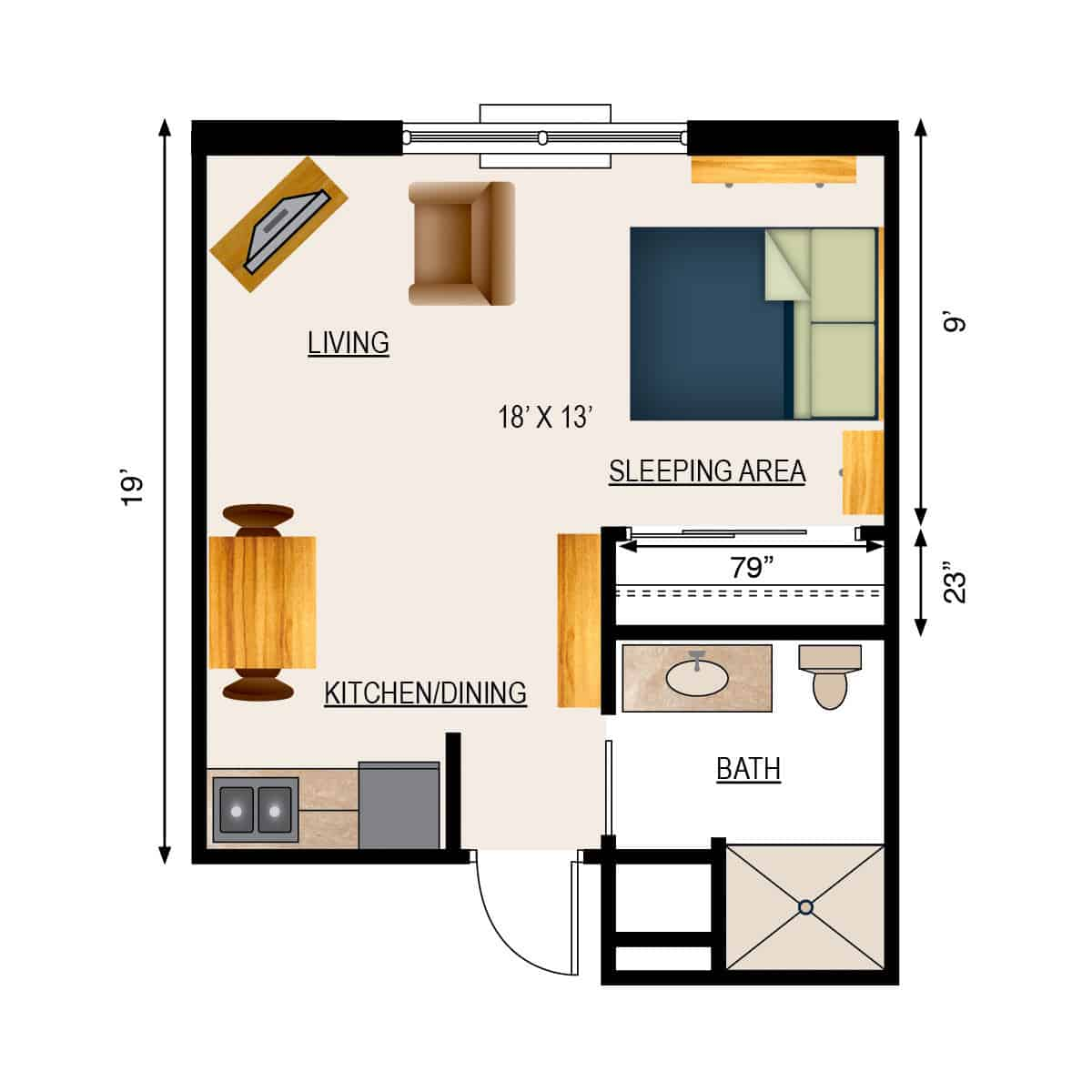 Appleton Retirement Studio Apartment